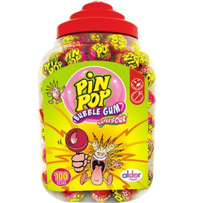 Aldor Pin Pop Sour Bubble Gum lizaki kwaśne z gumą 100 szt